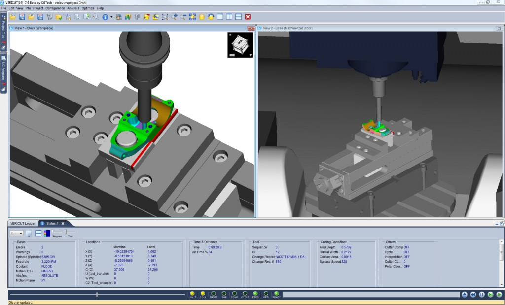 VERICUT 74-status simulation machine usinage cn