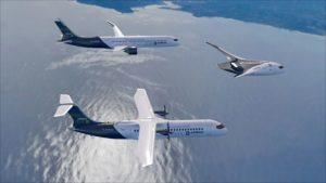 les trois concepts d'avions airbus ZEROe