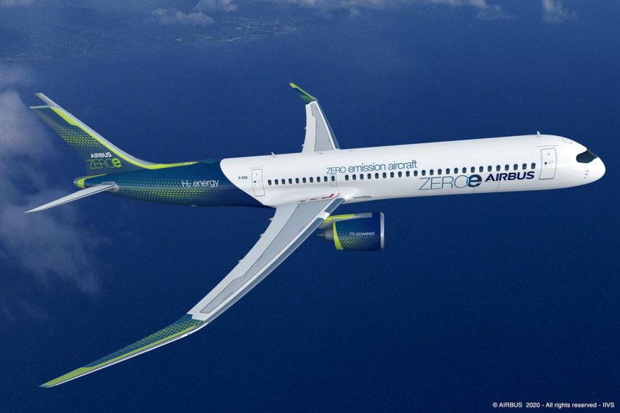 Airbus présente le ZEROe premier avion commercial zéro émission neutre sur le plan climatique